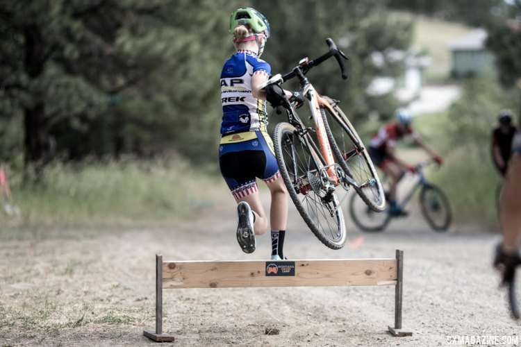 It's never too early to do barrier work. Lizzy Gunsalus shows her Nationals-winning form. Montana Cross Camp, Women, 2017. © Tom Robertson