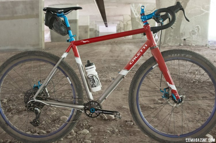 Cyclocross, gravel, and under-the-bridge dirt criteriums, Caletti Cycles' titanium monster cross bike is built to do it all. 2017 Paul Camp. © Cyclocross Magazine