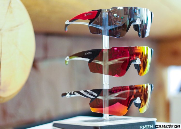 Smith's new Attack and Attack Max pair two Chromopop color-enhancing lenses with MAG magnetic lens swapping. Press Camp 2017. © Cyclocross Magazine