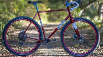 Rex Cycles' fillet brazed monster cross bike features big, 29er rubber. It's subtle, but the seat tube curves for added tire clearance. © Cyclocross Magazine