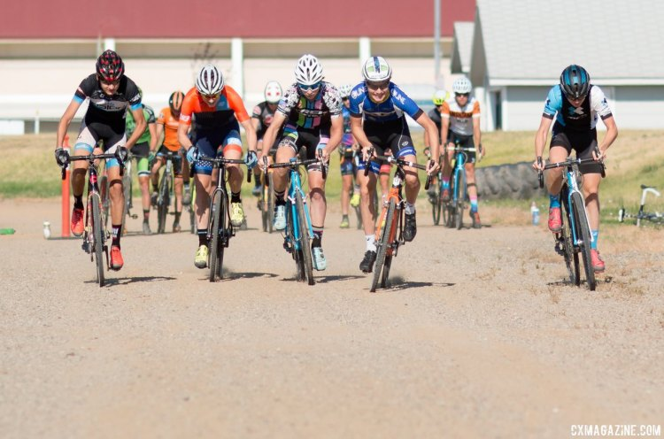Racers explode off the line in their start drills. 2017 Montana Cross Camp © Cyclocross Magazine