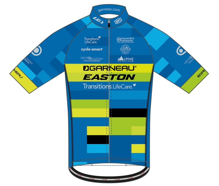 The 2017-2018 Garneau-Easton p/b Transitions LifeCare team jersey.