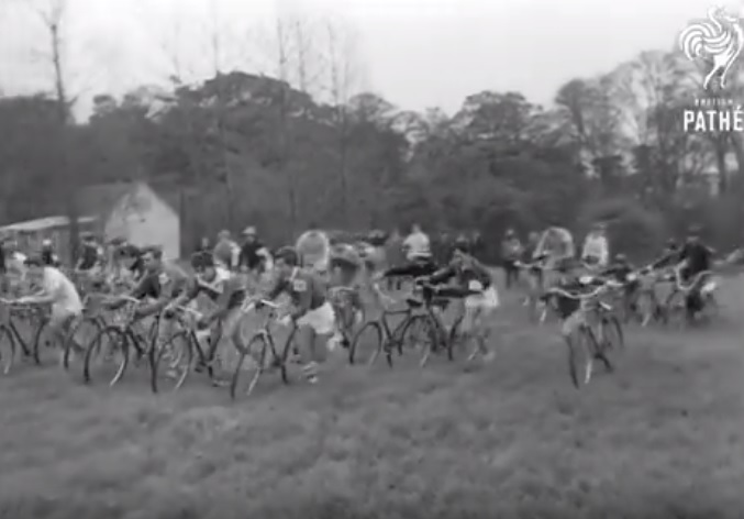 The Scout Cross began with a bizarre running start. photo: YouTube capture, British Pathe