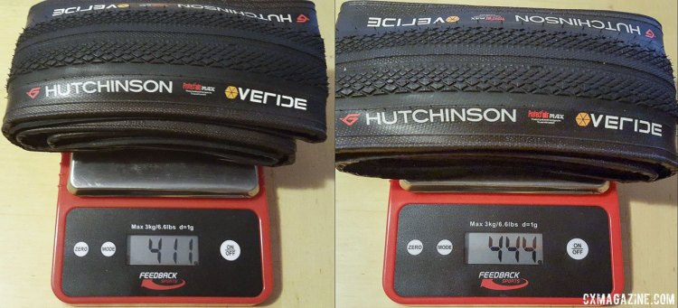 The 38mm version of the Hutchinson Overide tubeless gravel tire varied in weight but averaged 427.5g. © Cyclocross Magazine