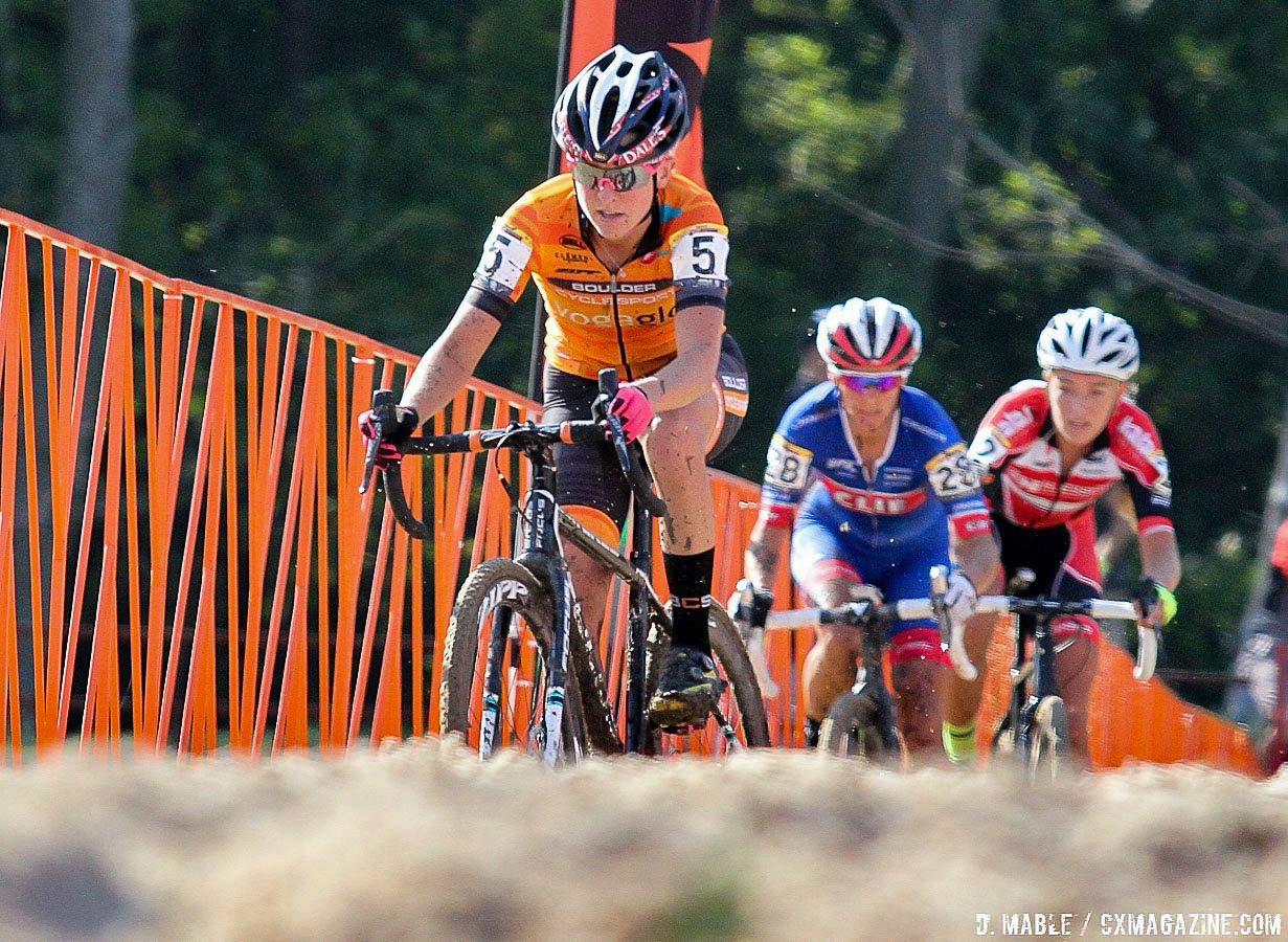 Amanda Miller was always easy to spot in the orange of the Boulder Cycle Sport team. Jingle Cross World Cup, Elite Women. © D. Mable / Cyclocross Magazine