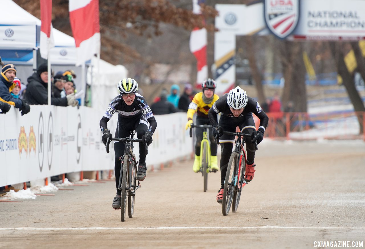 Dylan Zakrajsek sprints for second over Will Sharp, 2017 Nationals. © A. Yee / Cyclocross Magazine