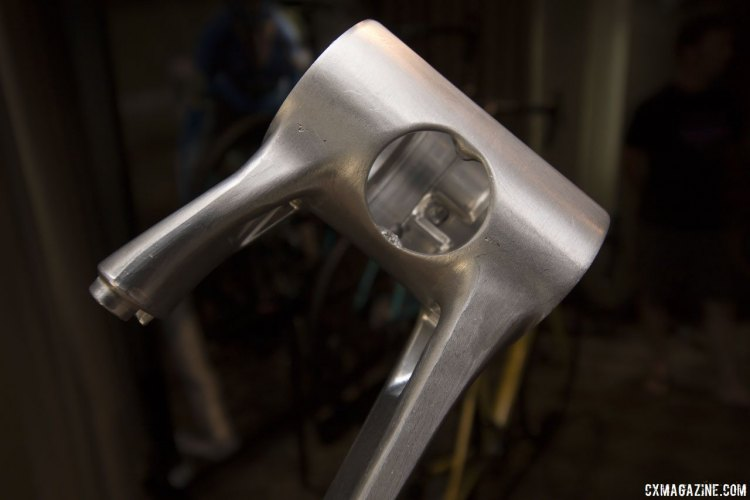 The new alloy 2018 Kona Rove NRB frames feature a forged two-piece bottom bracket shell that is optimized for tire clearance while keeping a 68mm wide threaded shell. © Cyclocross Magazine