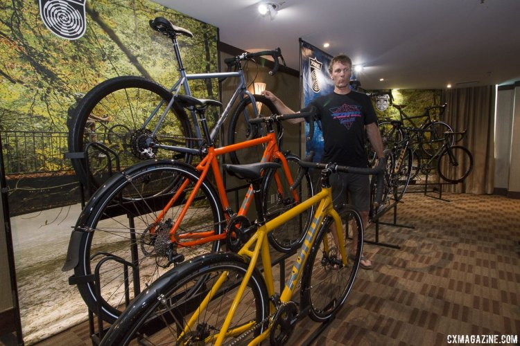 Kona's Joe Brown shows off the 700c wheel versions of the 2018 Kona Rove line. © Cyclocross Magazine