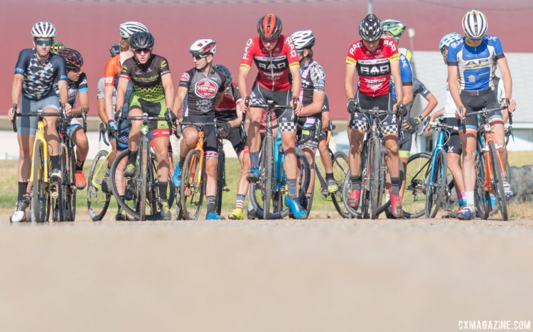 Every man for himself: Friends and teammates alike have to do battle for imaginary holeshots. 2017 Montana Cross Camp © Cyclocross Magazine