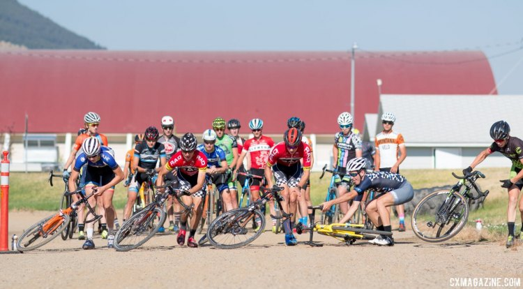 Push-up start drills at 2017 Montana Cross Camp led to a bike pull-up before a remount and sprint. © Cyclocross Magazine