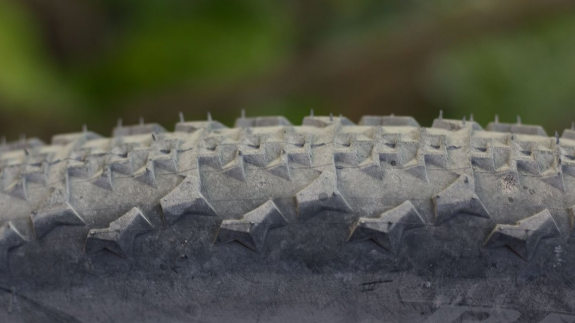 Ritchey's new tubeless 40mm Speedmax semi-slick cyclocross/gravel tire has tall, chunky side knobs that bite in loose conditions but might provide clearance issues on tight clearance bikes. © Cyclocross Magazine