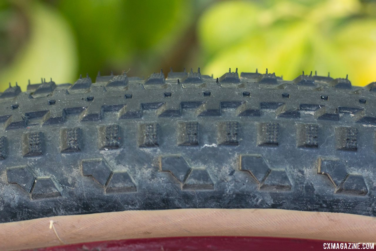 Soma Fabrications new 700 x 50 Cazadero tubeless gravel tire has tall knob for grip in loose conditions but smooth rolling due to the center ridge. © Cyclocross Magazine