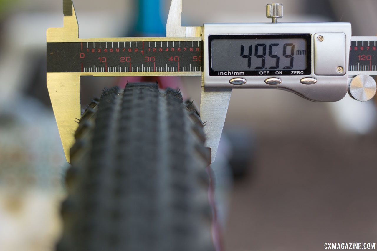 Soma Fabrications new 700 x 50 Cazadero tubeless gravel tire comes close to list width on a wide, 26.6mm internal rim. © Cyclocross Magazine