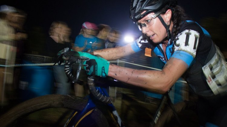 Rebecca Gross ran to a 9th place finish on Friday night. 2016 Jingle Cross cyclocross festival. © A. Yee / Cyclocross Magazine