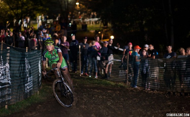 Friday night's C2 race was a slippery, muddy affair. 2016 Jingle Cross cyclocross festival. © A. Yee / Cyclocross Magazine