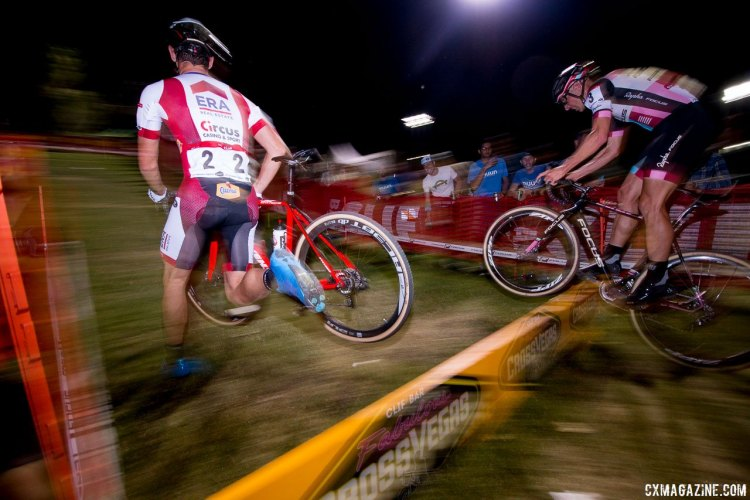 The battle for second: Diether Sweeck and Jeremy Powers. 2017 CrossVegas Elite Men. © A. Yee / Cyclocross Magazine