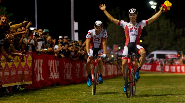 Brotherly love: Laurens Sweeck and brother Diether celebrate their 1-2 finish. 2017 CrossVegas Elite Men. © A. Yee / Cyclocross Magazine