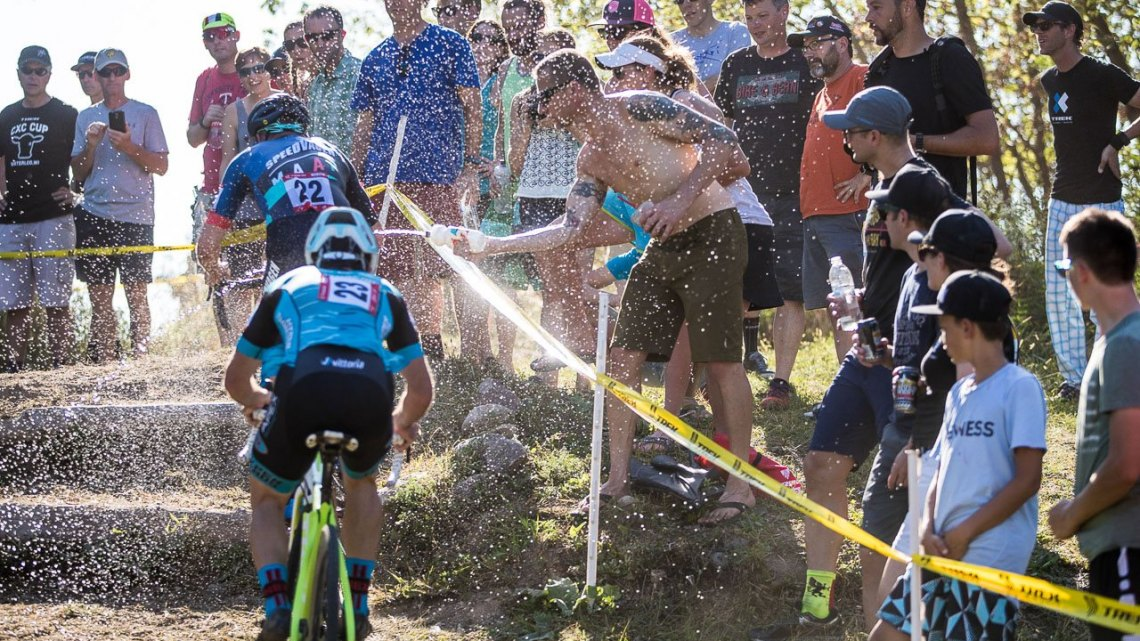 The stairs were hard enough, but with a fresh spray of water, presented a tougher, slick challenge. 2017 Trek CX Cup, Friday UCI C2. © J. Curtes / Cyclocross Magazine