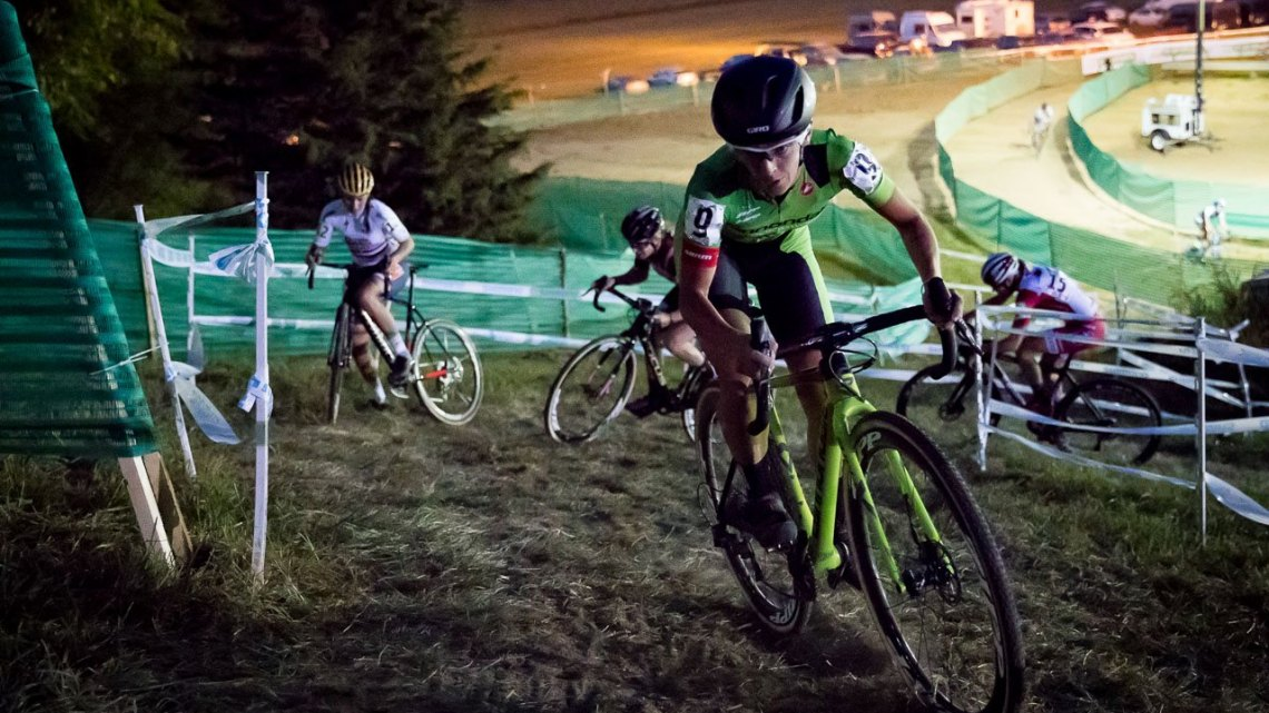 Keough nails the tricky uphill chicane on the far side of the course. Elite Women, 2017 Jingle Cross Day 1 UCI C1 (Friday Night). © J. Curtes / Cyclocross Magazine