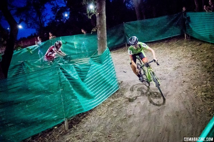 Keough in command ahead of Maghalie Rochette. Elite Women, 2017 Jingle Cross Day 1 UCI C1 (Friday Night). © J. Curtes / Cyclocross Magazine
