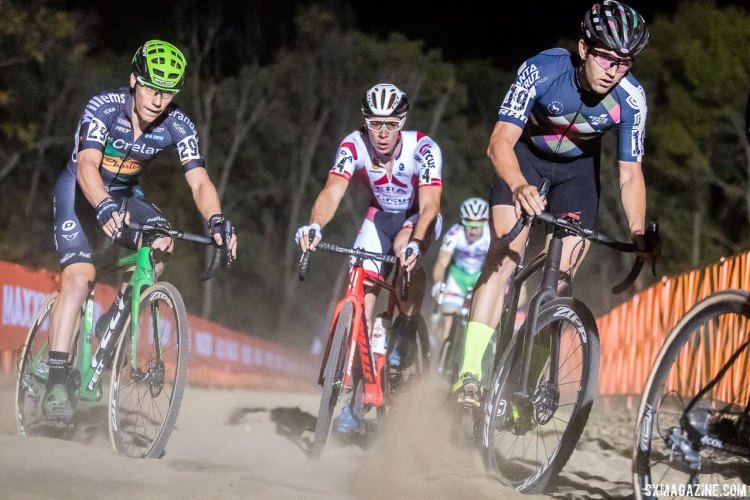 Laurens Sweeck bided his time early in the race and kept his cool under the lights. Elite Men, 2017 Jingle Cross Day 1 UCI C1 (Friday Night). © J. Curtes / Cyclocross Magazine
