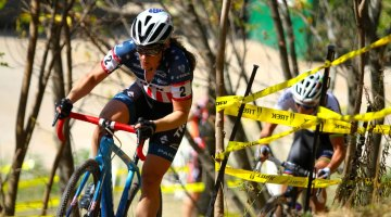 Katie Compton leads Sanne Cant through the woods midway through the C2 Trek CX Cup on Friday. ©D. Mable / cxmagazine.com