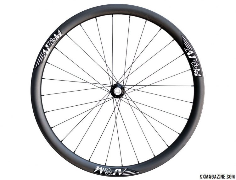 The $1,800, 1,420g Atom Composites CR38 carbon tubular wheelset. © Cyclocross Magazine