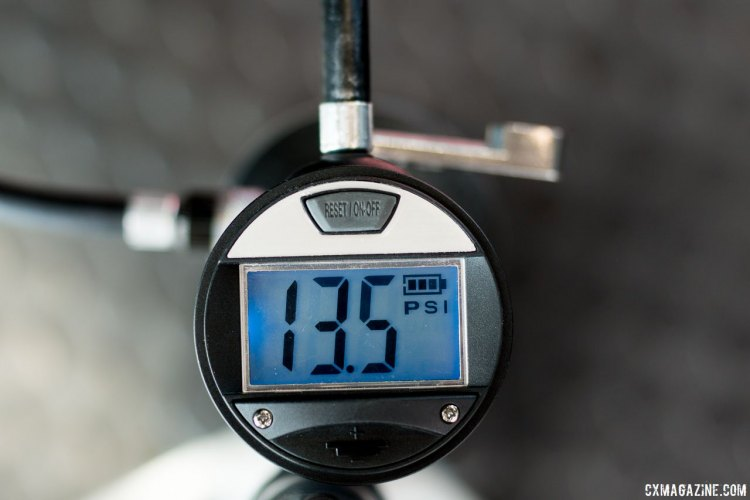 The digital gauge, a $30 upgrade over the analog version, makes for easy accurate inflation of your tubeless or tubular tire. Crankbrothers' new Klic modular tubeless floor pump. Interbike 2017 © Cyclocross Magazine