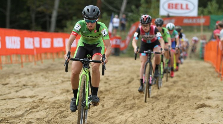 Kaitlin Keough charges through the sand early in the race. photo: David Mable / Cyclocross Magazine.