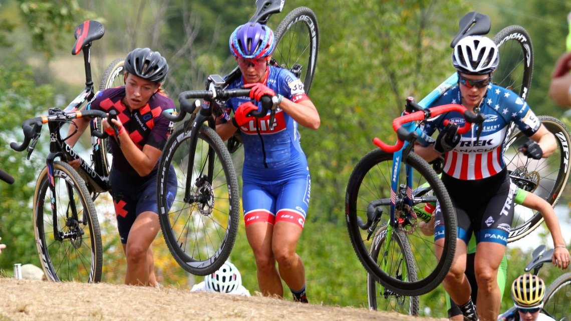 Sophie DeBoer, Katerina Nash and Katie Compton take the lead up the Mt. Krumpt climb. Photo by David Mable/Cyclocross Magazine.