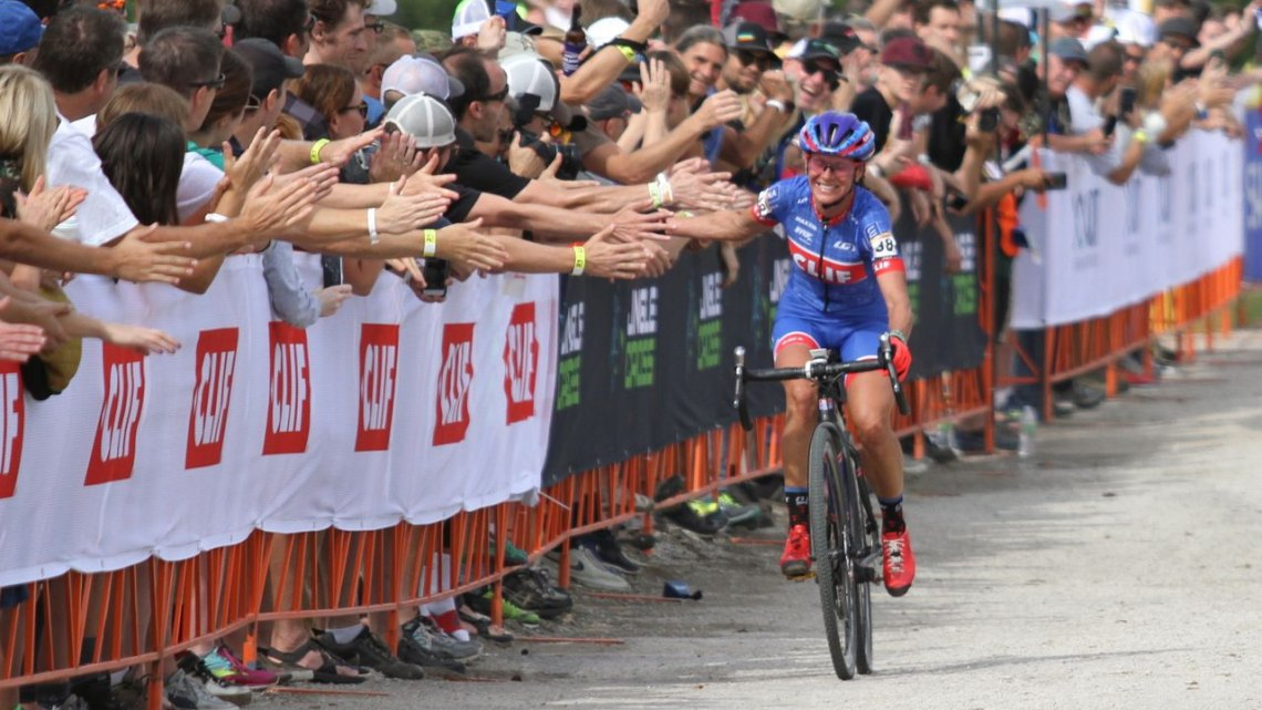 Katerina Nash enjoys her ride to the finish line in the first World Cup race of the season in Iowa City. Photo by David Mable/Cyclocross Magazine.