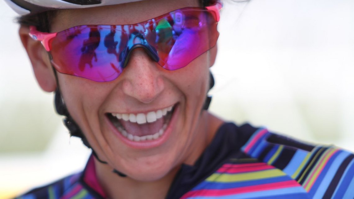 Courtenay McFadden is all smiles before the start of Friday's C2 race at the Trek CX Cup. © D. Mable / cxmagazine.com