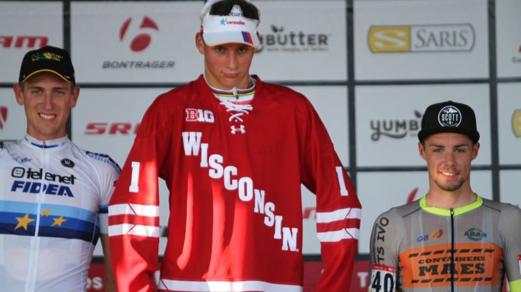 Mathieu van der Poel show's off his new Wisconsin Badger jersey after winning the C2 race at Trek CX Cup. © D. Mable / cxmagazine.com