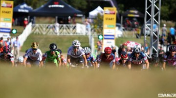 The elite women sprint up the first rise after the start of Friday's C2 race at Trek CX Cup. © D. Mable / cxmagazine.com