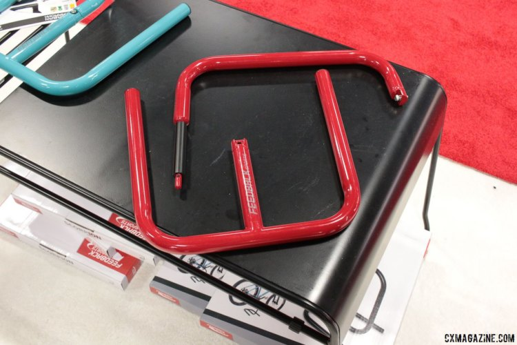 Feedback Sports Scorpion bike stand now comes as a two-piece unit, for easier portability and much cheaper packaging and shipping. Interbike 2017 © Cyclocross Magazine