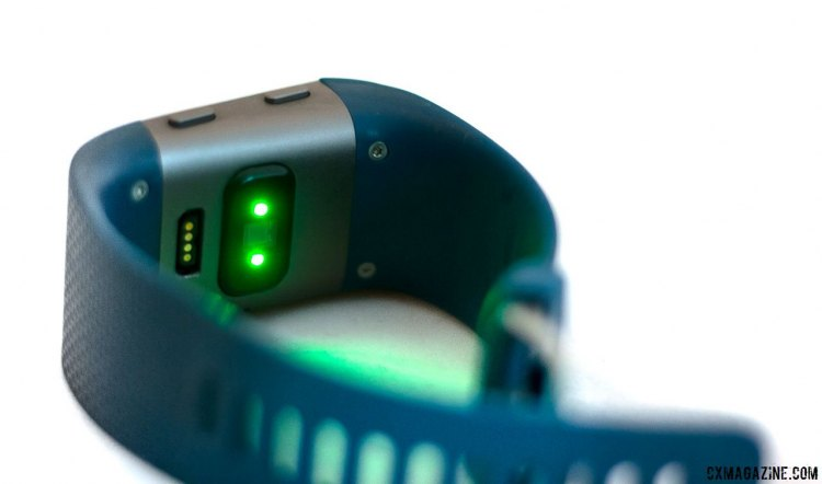 Fitbit Surge GPS/heart rate monitor smart watch uses optical LEDs to monitor capillary action. It seems accurate during normal daily life, but can lag or have gaps when you start to get going. Buy it for the easy-to-use GPS, but not for heart rate accuracy. © Cyclocross Magazine
