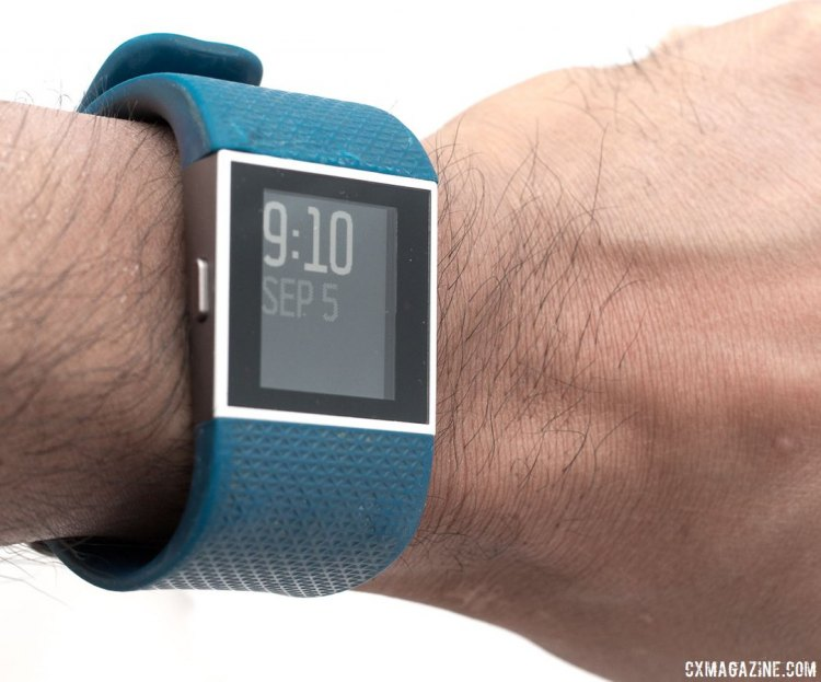 Fitbit Surge GPS/heartrate monitor smart watch comes in different colors isn't so big that it looks out of place as a daily watch. © Cyclocross Magazine