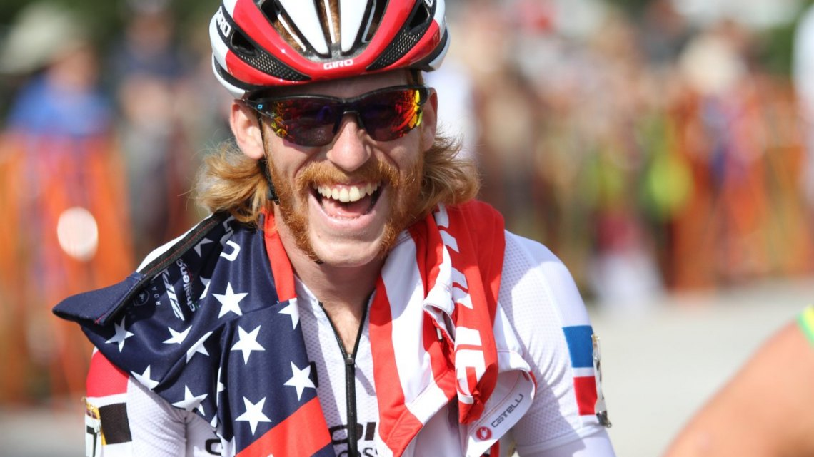 U.S. National Champion Stephen Hyde appears relaxed and jovial before the start of the 2017-18 World Cup season at Jingle Cross in Iowa City. 2017 Jingle Cross World Cup, Elite Men. © D. Mable / Cyclocross Magazine