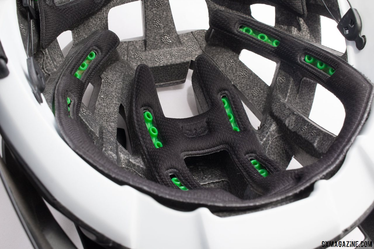 Kali Protectives Interceptor helmet uses green inserts, what Kali is calling LDL - a low density layer - to reduce rotational forces and low-G impacts. It's the company's answer to MIPS. © Cyclocross Magazine