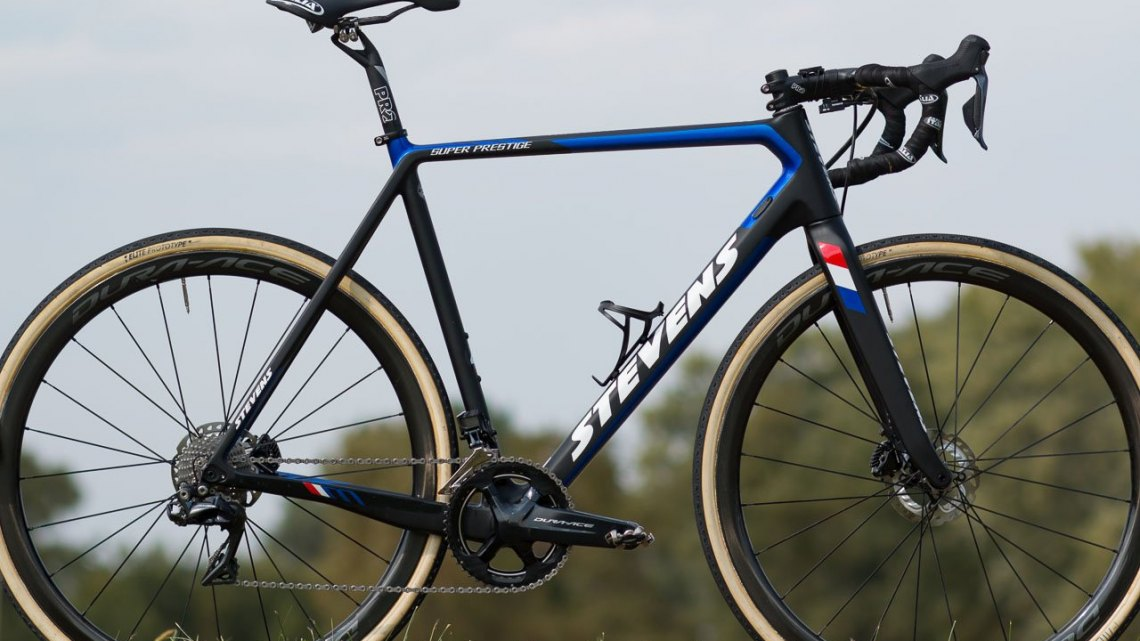 Mathieu van der Poel's Stevens Super Prestige cyclocross bike from 2017 Jingle Cross. © Cyclocross Magazine
