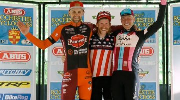 2017 Rochester Cyclocross Day 1 podium: Stephen Hyde, Rob Peeters and Jeremy Powers