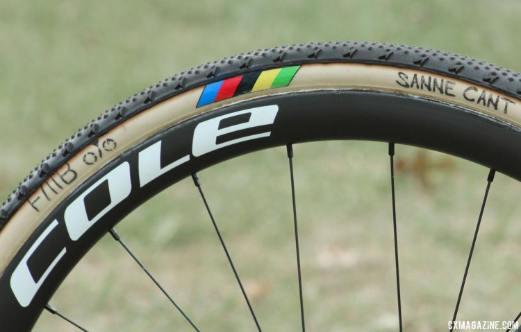 Sanne Cant uses Cole carbon tubular wheels and FMB tubulars. On race day, she had a choice between Sprint 2 (shown here) and Slalom tread. Cant's World Cup Waterloo-winning Stevens Super Prestige cyclocross bike. © Z. Schuster / Cyclocross Magazine Can
