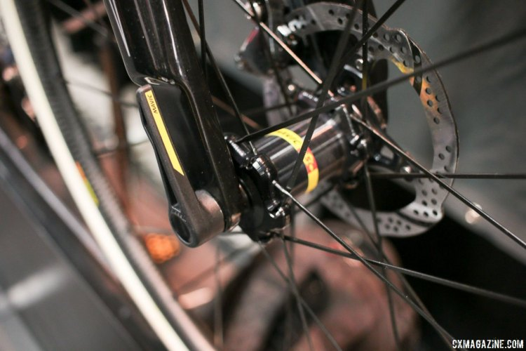 The new Mavic Speed Release system should allow for quick wheel changes and easy lever alignment. The updated 2018 Van Dessel Full Tile Boogie carbon cyclocross bike. Interbike 2017 © Cyclocross Magazine