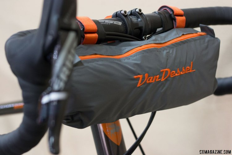 The new 2018 Van Dessel WTF 853 LTD comes with a limited edition handlebar bag. The handlebar bag is available separately for $1500, and comes with a free WTF 853 LTD frameset. Interbike 2017 © Cyclocross Magazine
