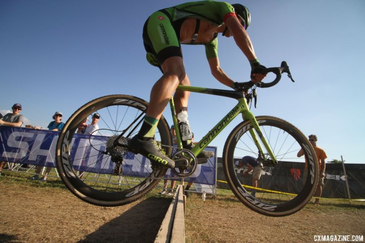 Curtis White (Cannondale p/b Cyclocrossworld.com) hops the barriers. 2017 World Cup Waterloo Elite Men. © D. Mable / Cyclocross Magazine