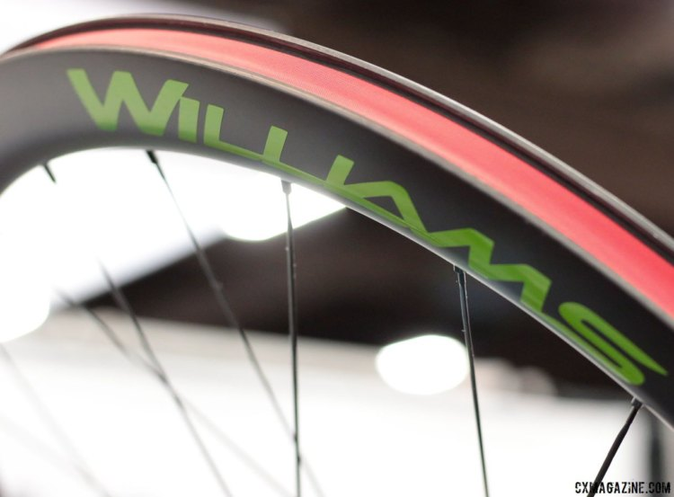 Williams Cycling's System 45 carbon disc wheels is the company's answer to a disc brake road, cyclocross and gravel wheelset. 26mm wide, 18.6mm internal. Sapim CX Ray spokes. Interbike 2017 © Cyclocross Magazine