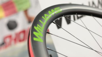 Williams Cycling's $1399 System 45 carbon disc wheels is the company's do-it-all wheelset. 45mm deep, 18.6mm internal width. 1558 grams per set. Available soon in a shop near you as the company makes the move from consumer direct to shops. Interbike 2017 © Cyclocross Magazine
