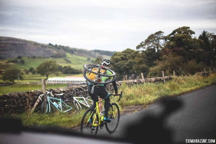 Neutral support is equipped with whatever helpers can carry. 2017 Three Peaks Cyclocross. © D. Monaghan / Cyclocross Magazine