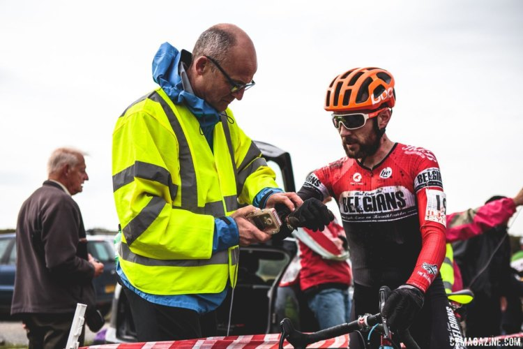 "Riders must ""dib in"" at all check points using their electronic timing tag. 2017 Three Peaks Cyclocross. © D. Monaghan / Cyclocross Magazine"