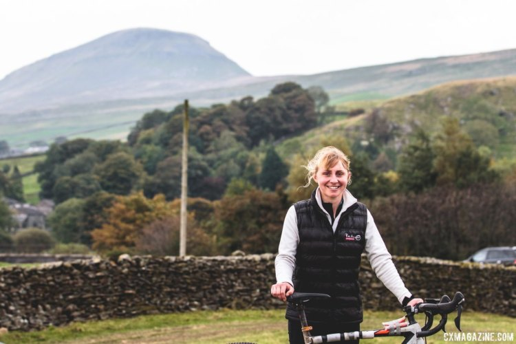 Women's winner Christina Wiejak poses with one of the famed peaks in the background. 2017 Three Peaks Cyclocross. © D. Monaghan / Cyclocross Magazine